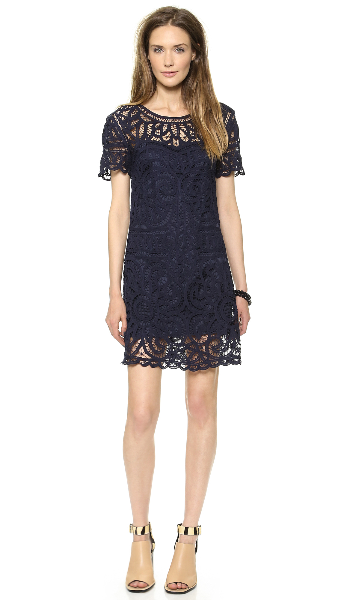 Sea Short Sleeve Lace Dress Navy in Blue | Lyst