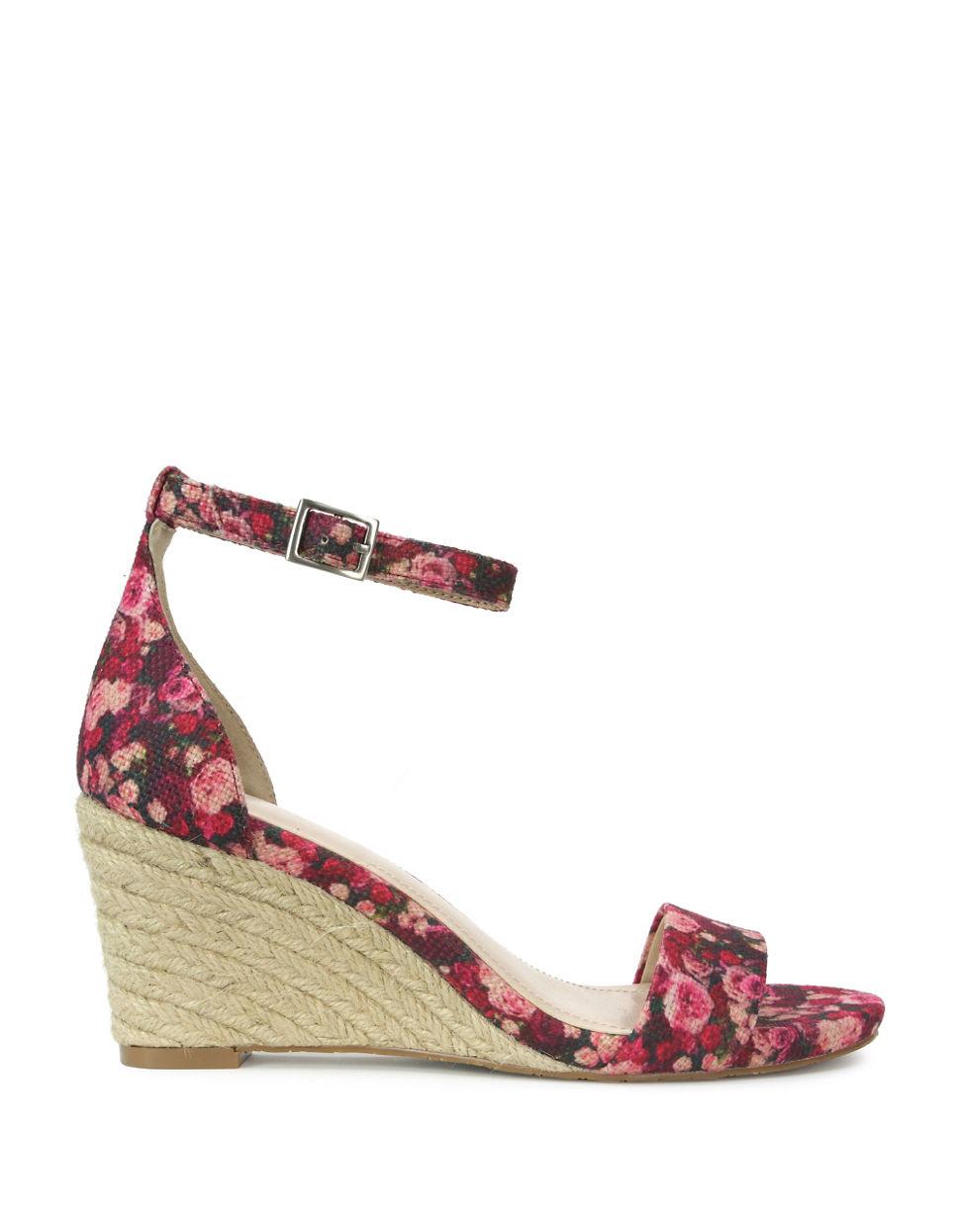 11073f6735f Lyst tahari florence floral wedge sandals in pink jpg 970x1245 Purple pink  wedges