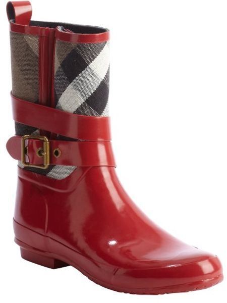 Burberry Red Rubber And Argyle Canvas Rain Boots In Red Lyst