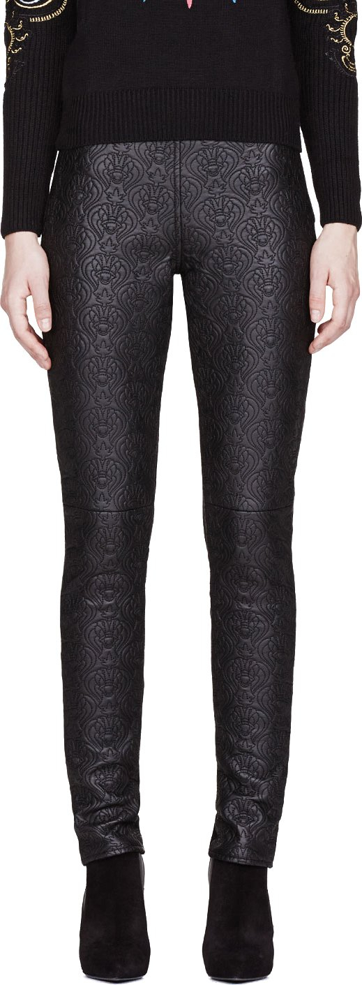 Kenzo Black Leather And Knit Embossed Fashion Leggings View Fullscreen Kenzo Black