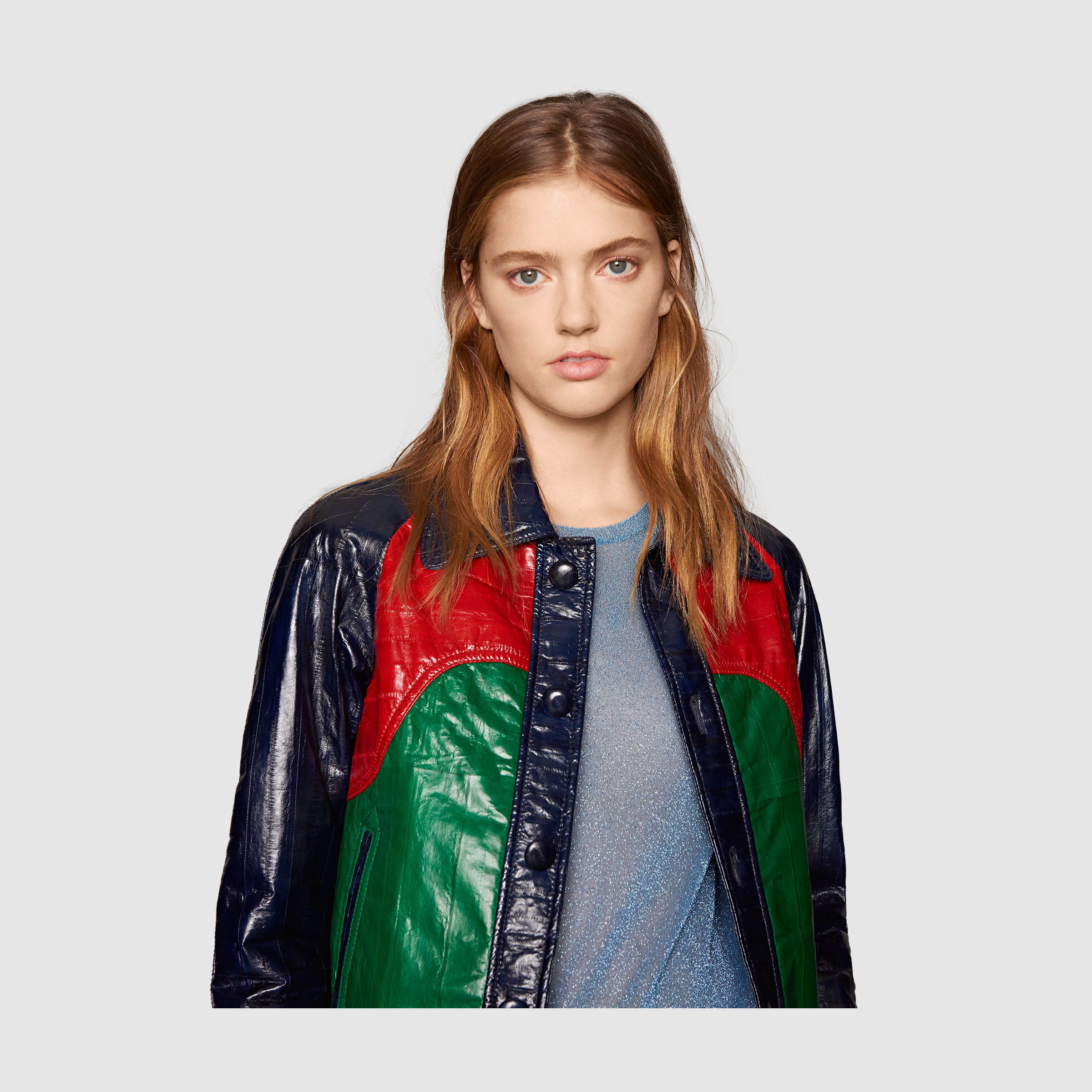 1d16a8fc2 Gucci Paneled Leather Jacket in Red - Lyst