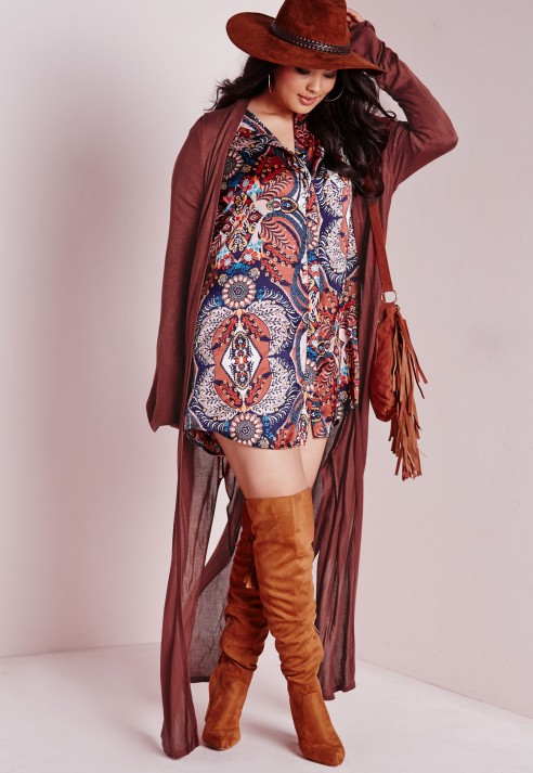 Missguided Plus Size Maxi Cardigan Rust in Brown   Lyst
