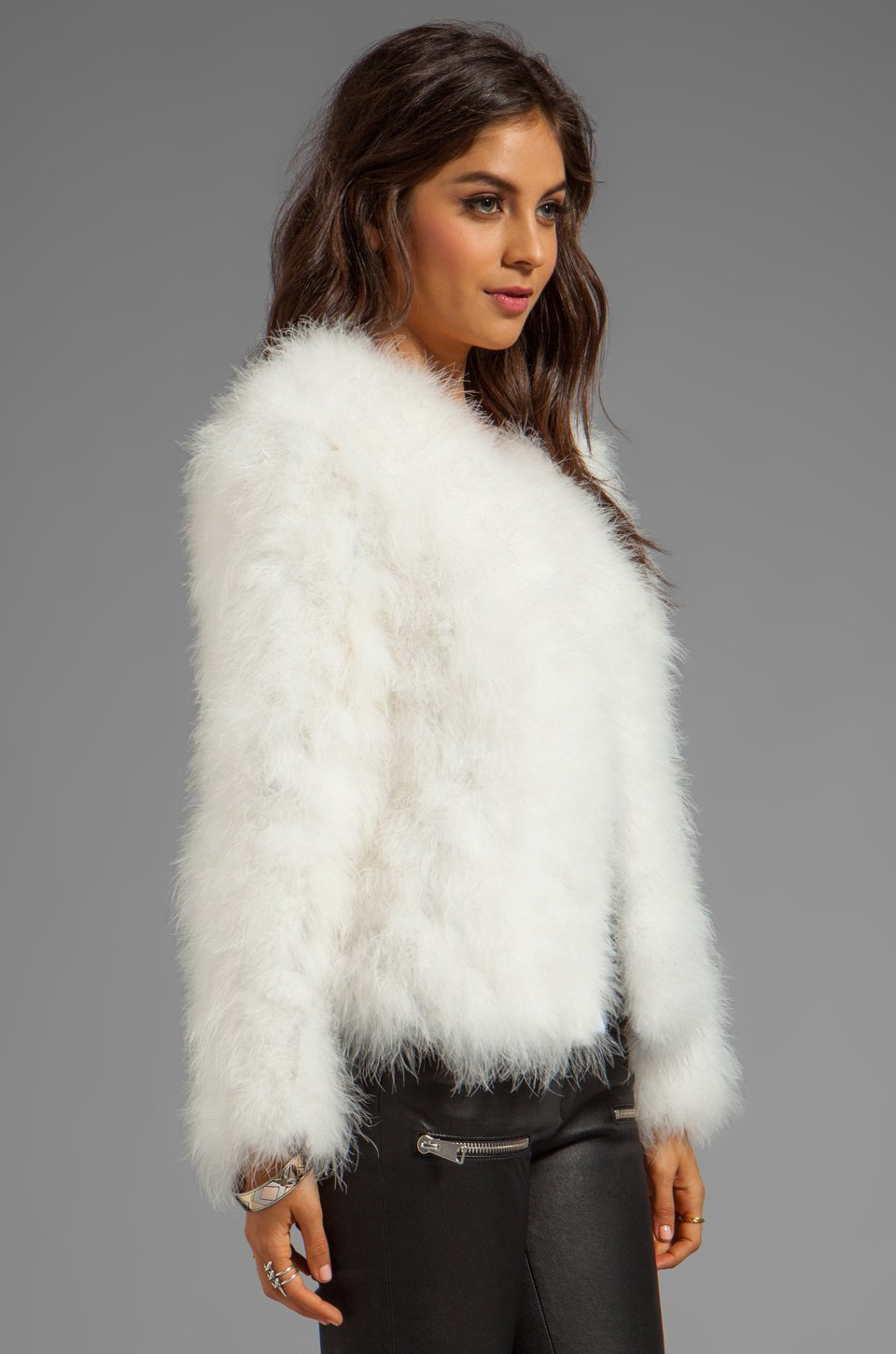 Line & dot Marabou Faux Fur Jacket in White in White | Lyst
