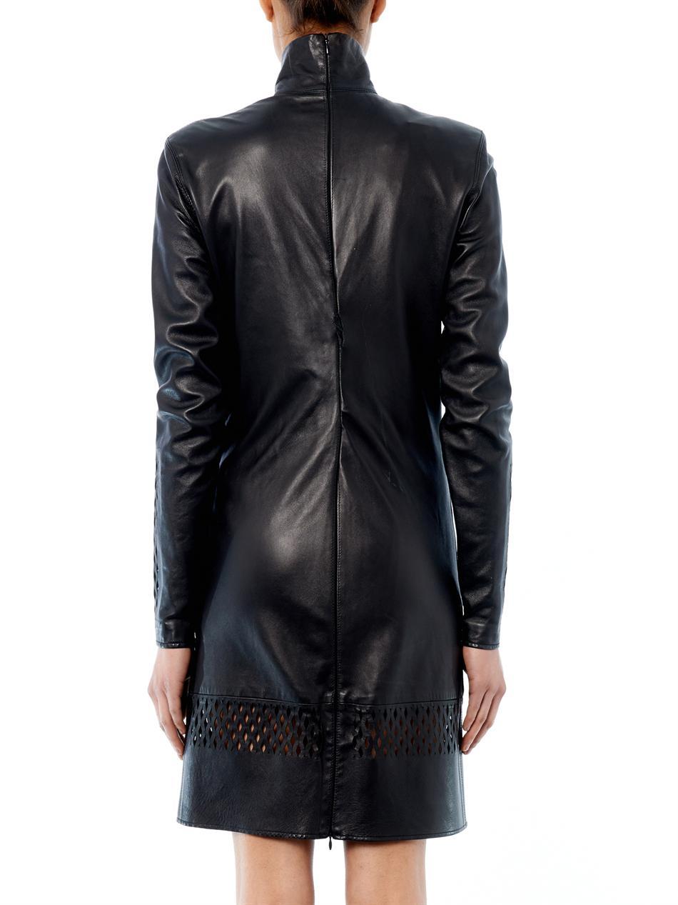 Lyst Jean Paul Gaultier High Collar Leather Dress In Black