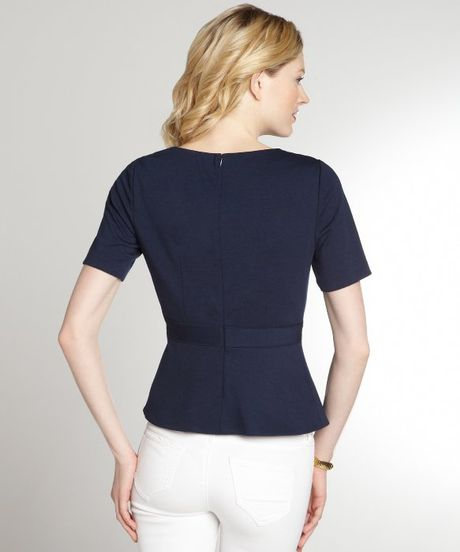 Womens Navy Blue Short Sleeve Blouse 82