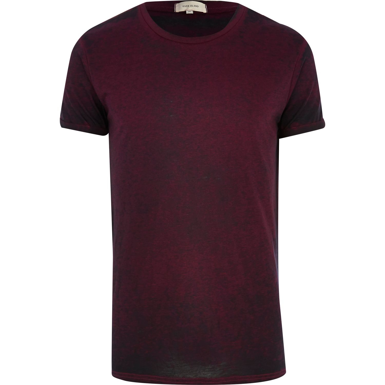 River Island Dark Purple Burnout T-Shirt in Purple for Men ...
