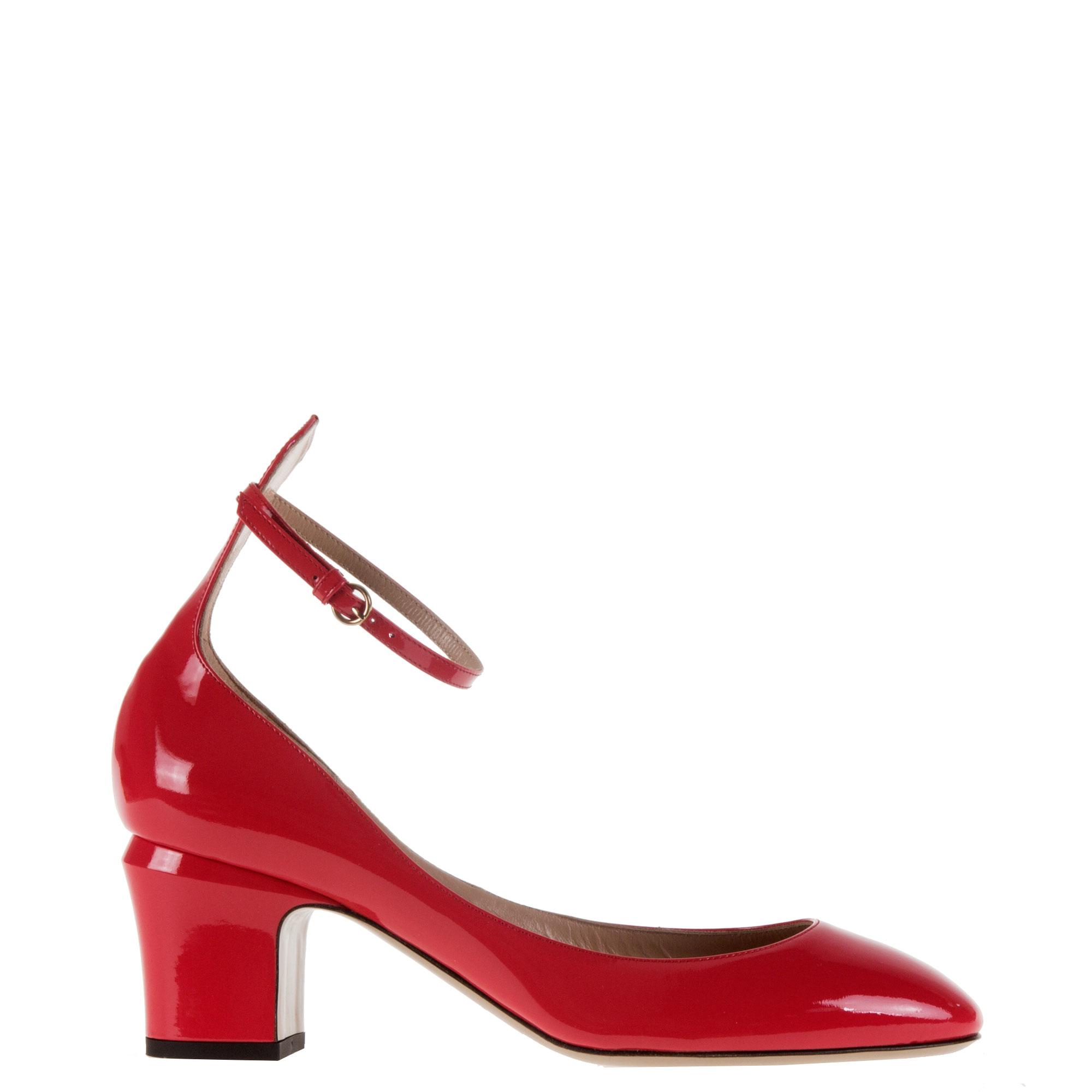 Red Plain Block Heel Shoe