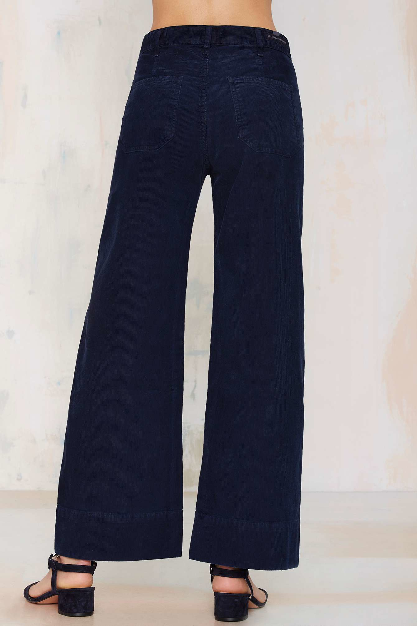 lyst citizens of humanity abigail wide leg corduroy pants in blue. Black Bedroom Furniture Sets. Home Design Ideas