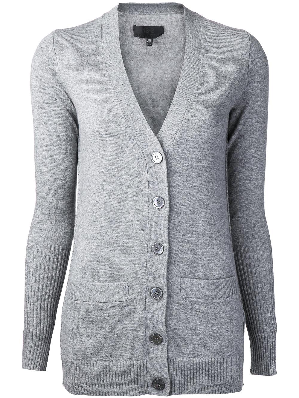 Nili lotan Cashmere Cardigan in Gray | Lyst