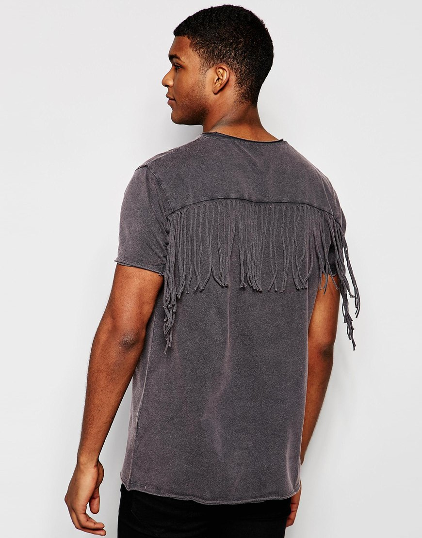 Asos longline t shirt with fringe back and acid wash in for Mens shirt with tassels