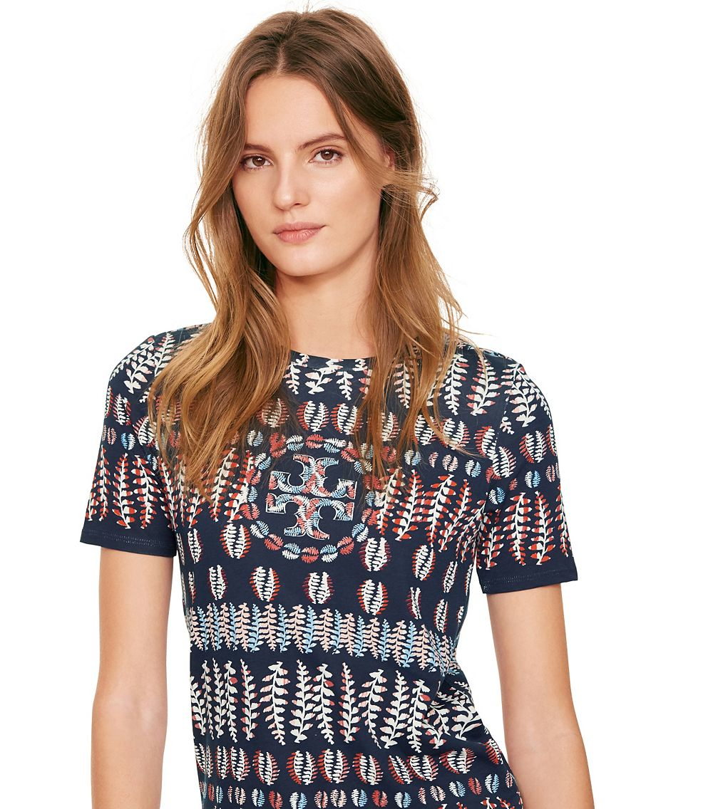 Lyst tory burch printed cotton jersey t shirt in blue for Tory burch t shirt