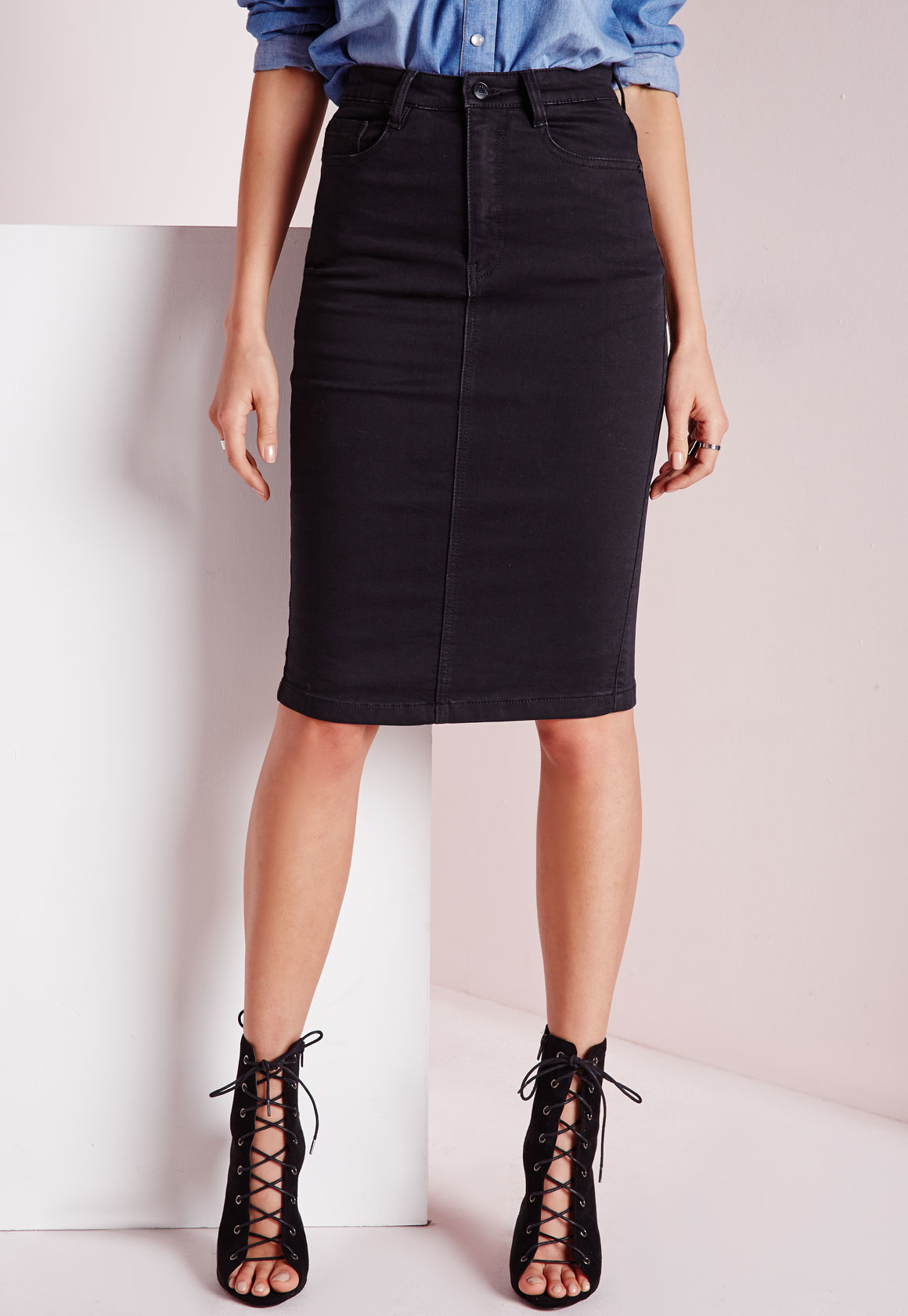 missguided high waisted midi denim skirt black in black  lyst
