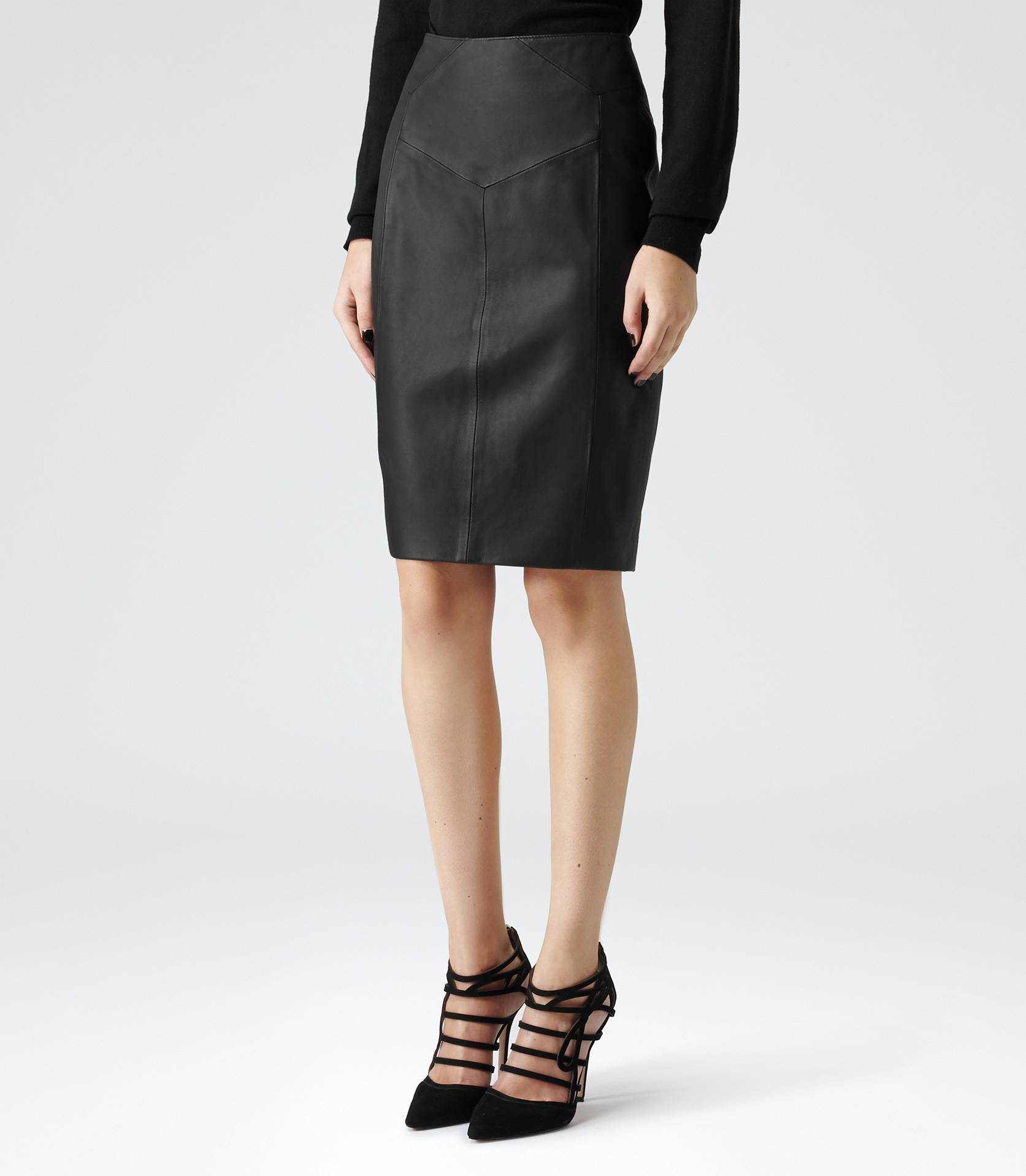reiss ruby leather pencil skirt in black lyst