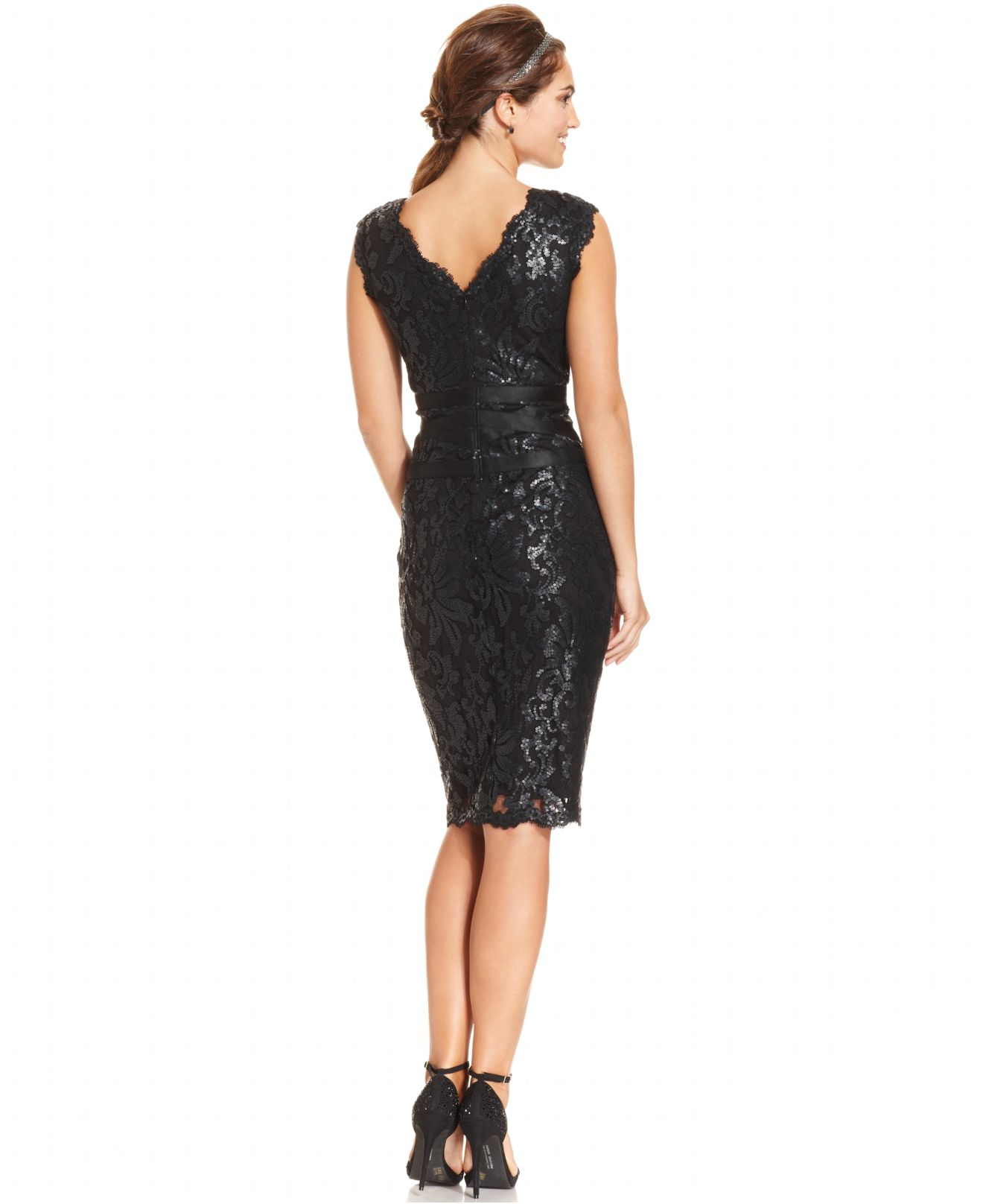Lyst - Adrianna Papell Sleeveless Sequin-Lace Sheath in Black