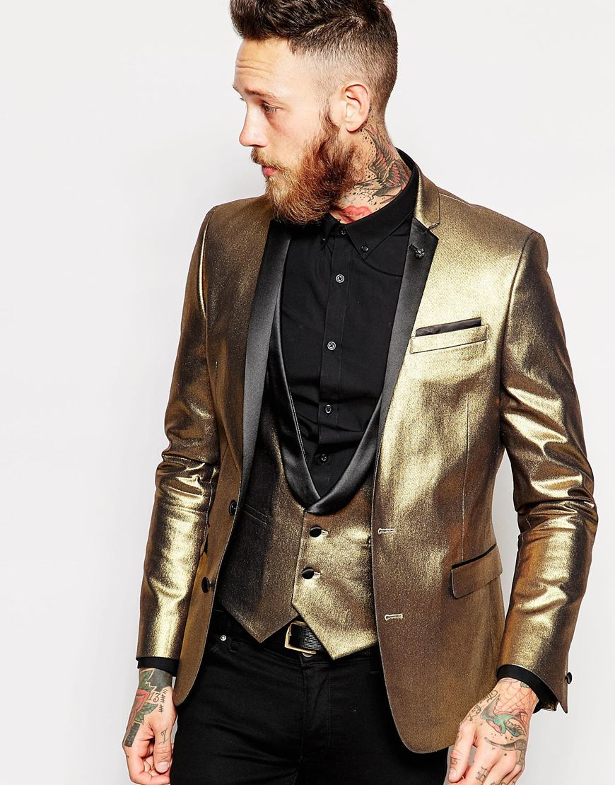 Lyst Asos Super Skinny Blazer In Gold Velvet In Black