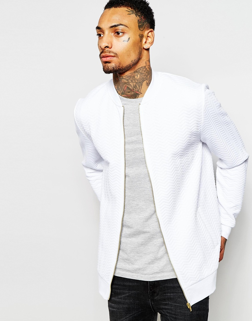 b5478aaab9f Asos Quilted Jersey Bomber Jacket In White For Men