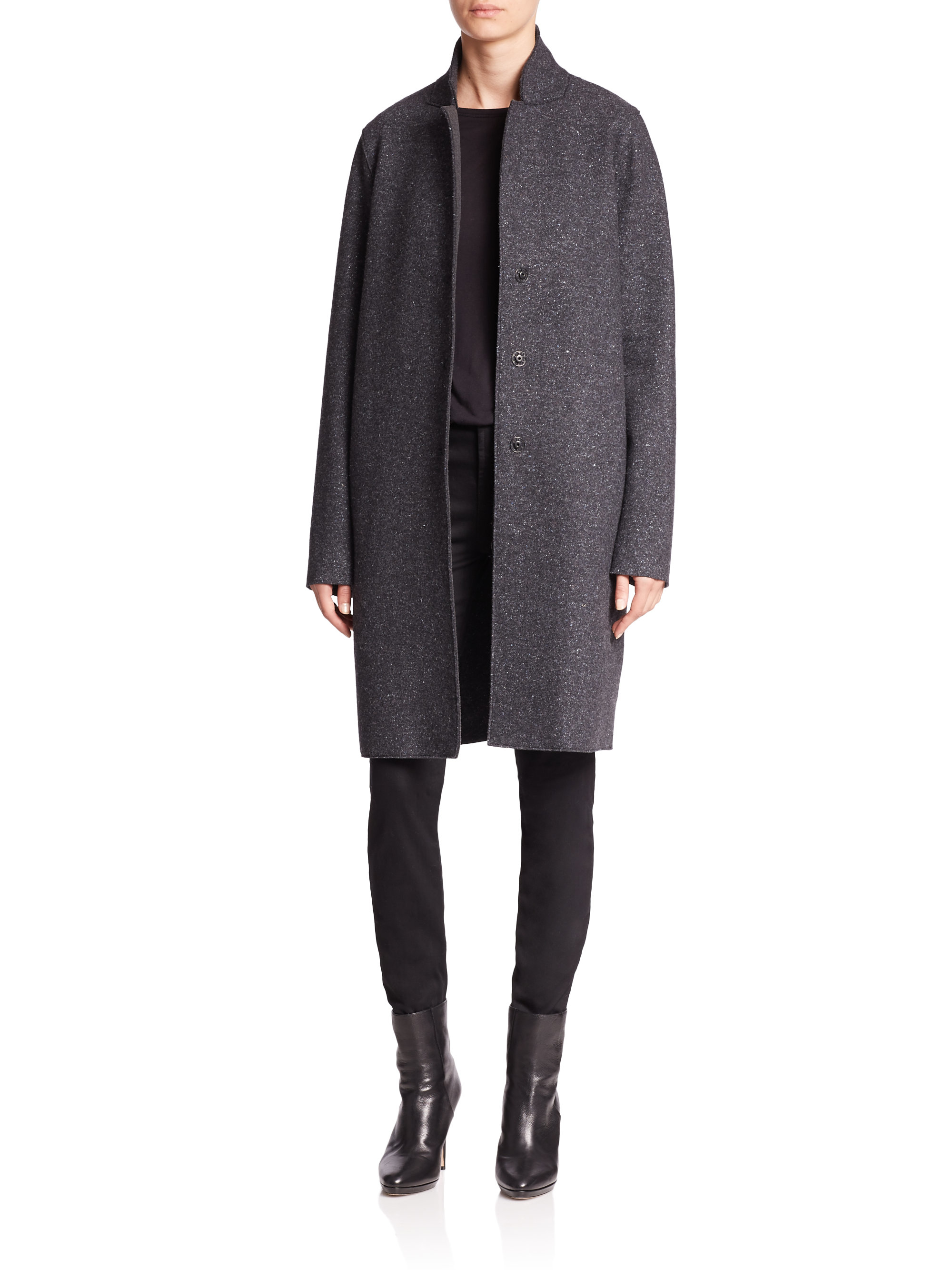 harris wharf london knit cocoon coat in gray lyst. Black Bedroom Furniture Sets. Home Design Ideas