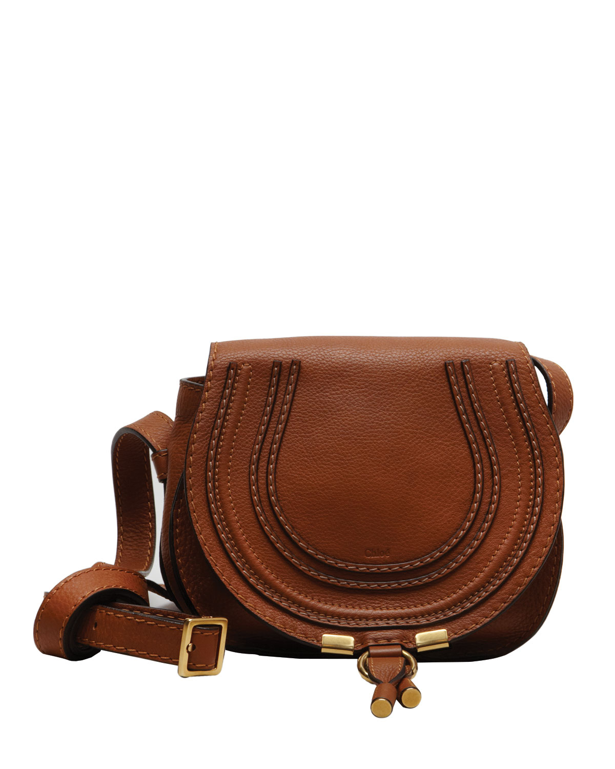 aad1fb239a Chloé Marcie Mini Leather Saddle Bag in Brown - Lyst