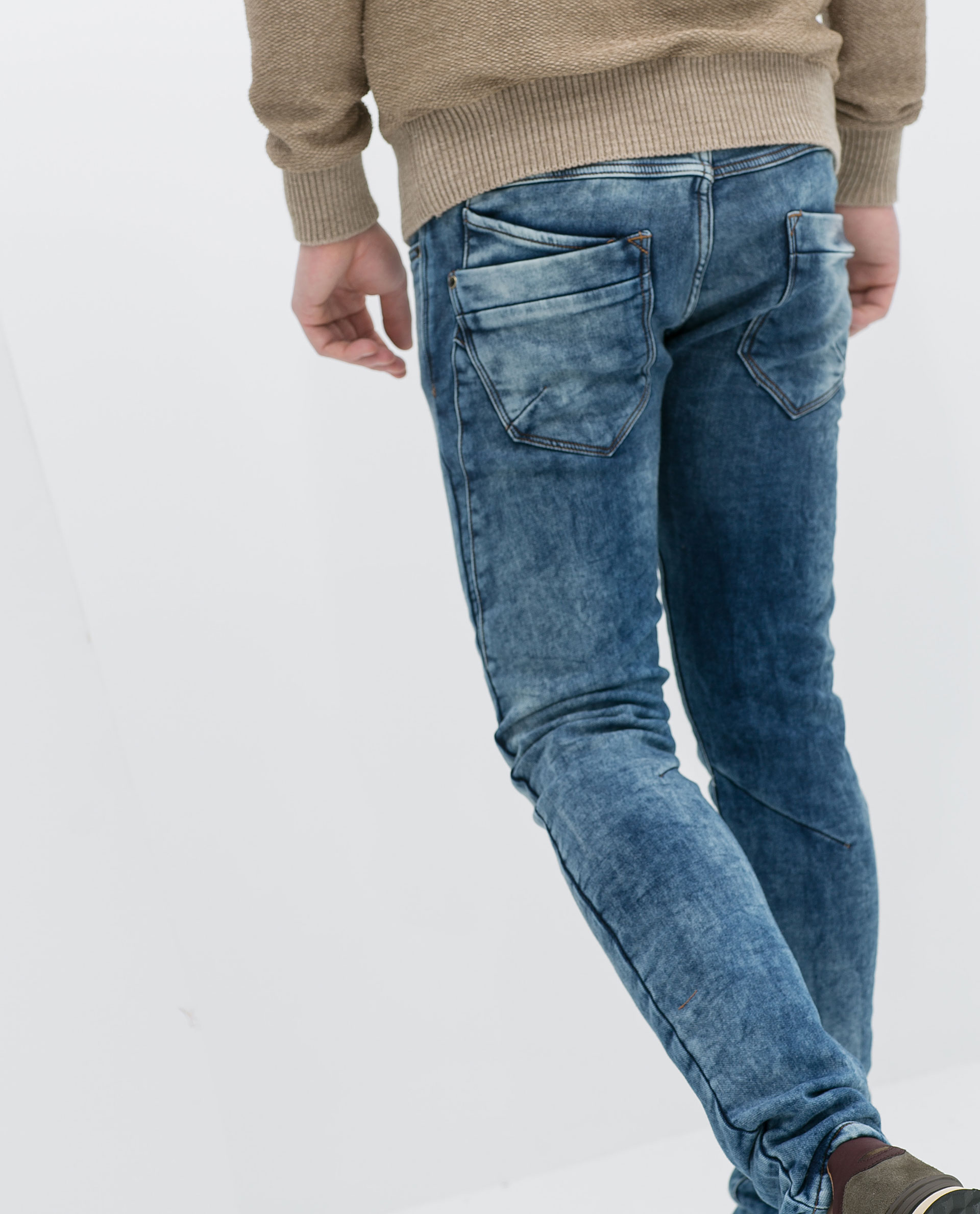 Zara Faded Brushed Denim Jeans in Blue for Men | Lyst