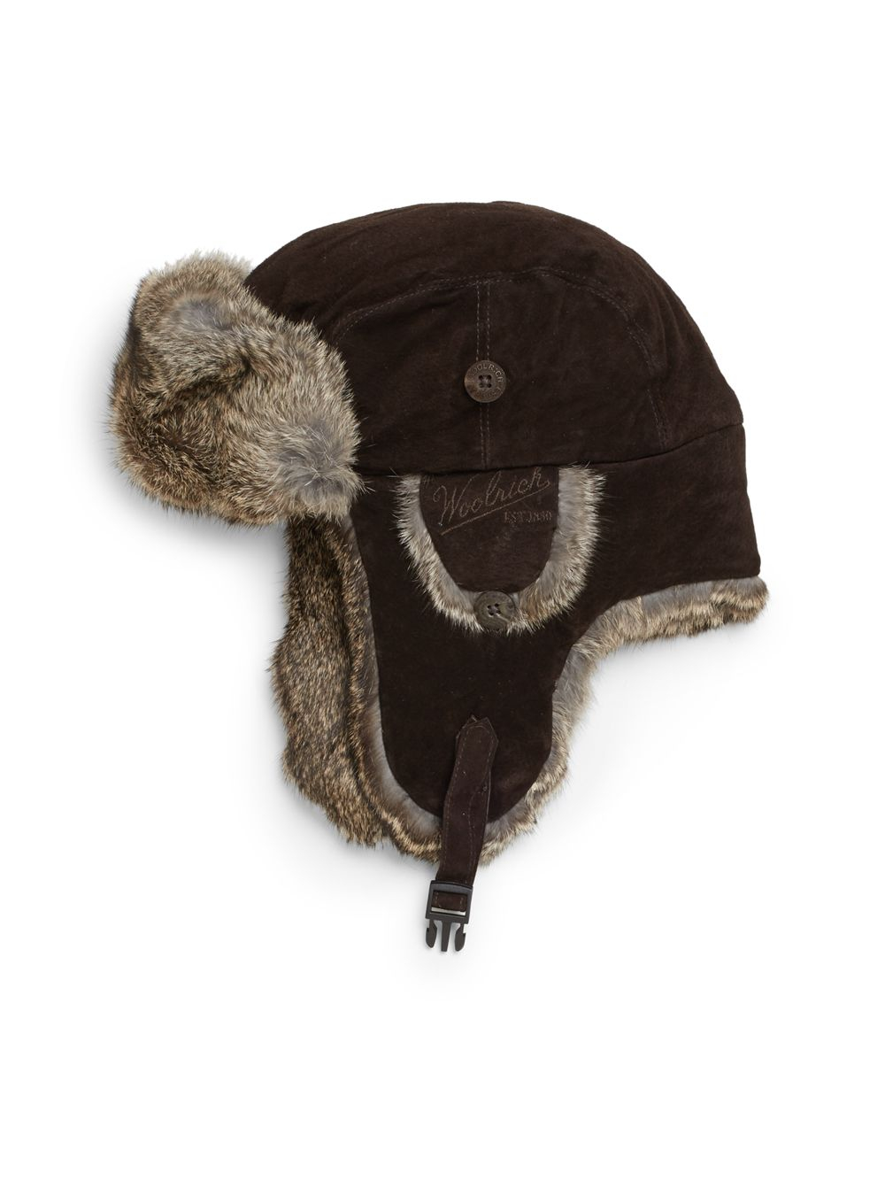 Lyst - Woolrich Suede Rabbit Fur Trapper Hat in Brown for Men ce5180d2fddc