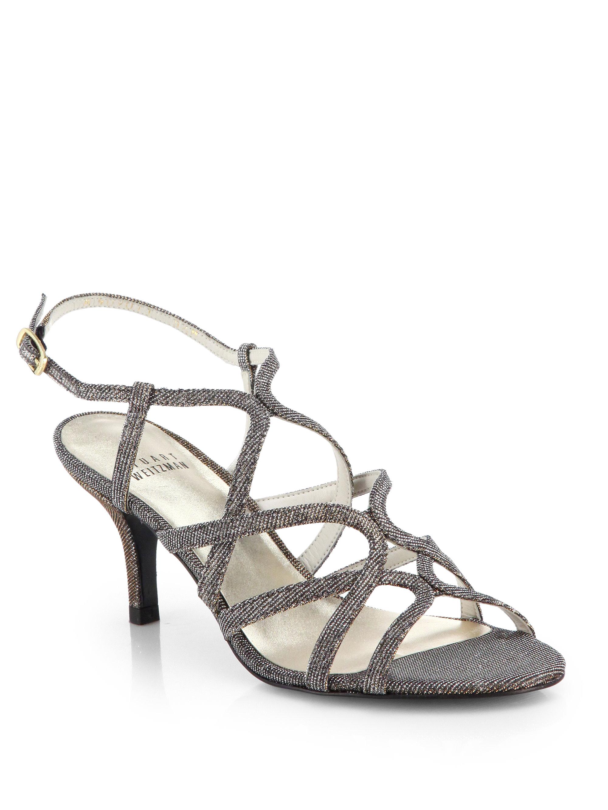 Lyst Stuart Weitzman Turning Up Shimmer Strappy Sandals