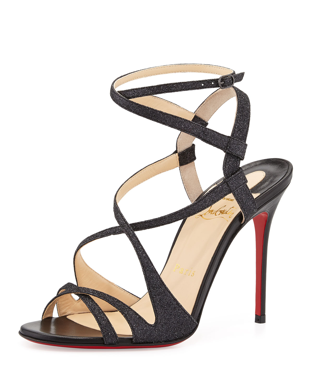 christian louboutin sandals Black patent leather glitter covered ...