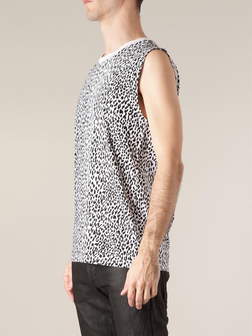 e7f68302caf3a Lyst - Saint Laurent Leopard Print Tank Top in Black for Men