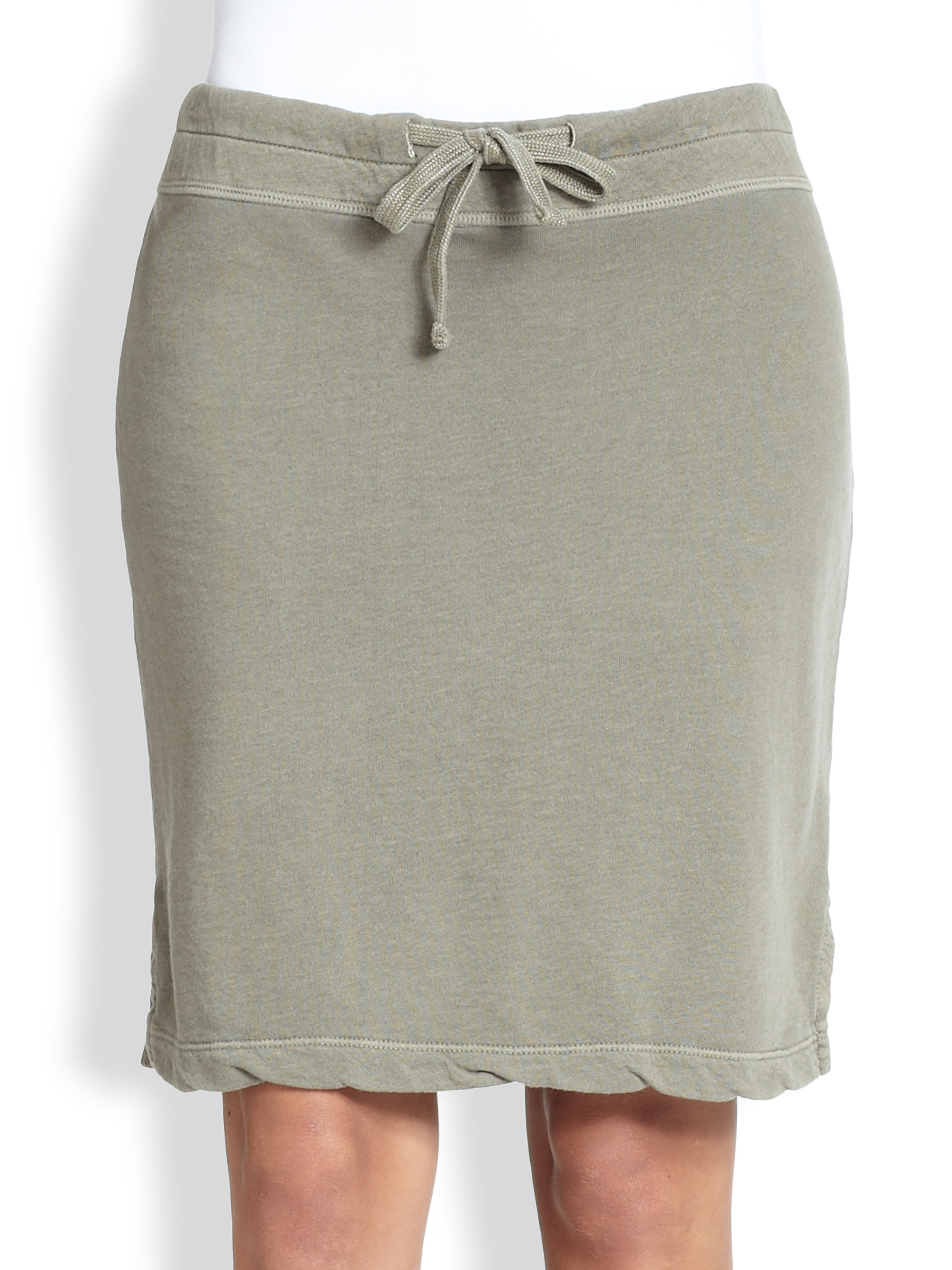 6f56c0305 James Perse Drawstring Cotton Jersey Skirt in Gray - Lyst