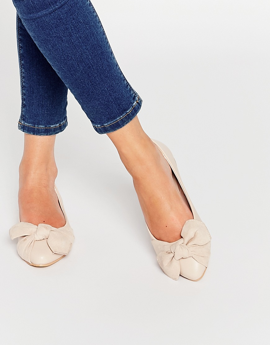 lost ink pale pink bow ballerina flat shoes in pink lyst