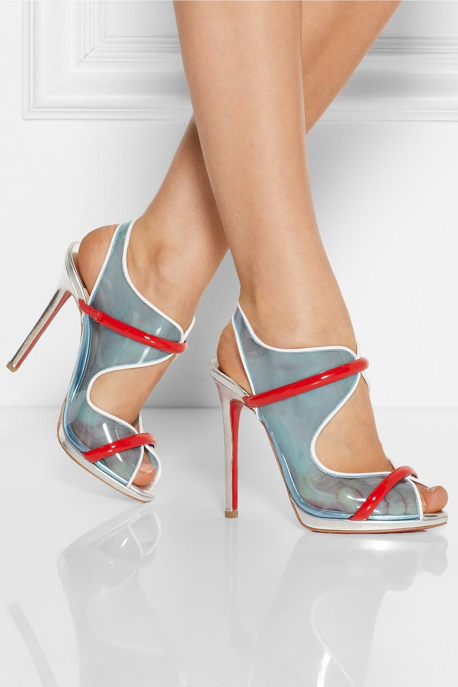 Artesur ? christian louboutin PVC and leather slide sandals