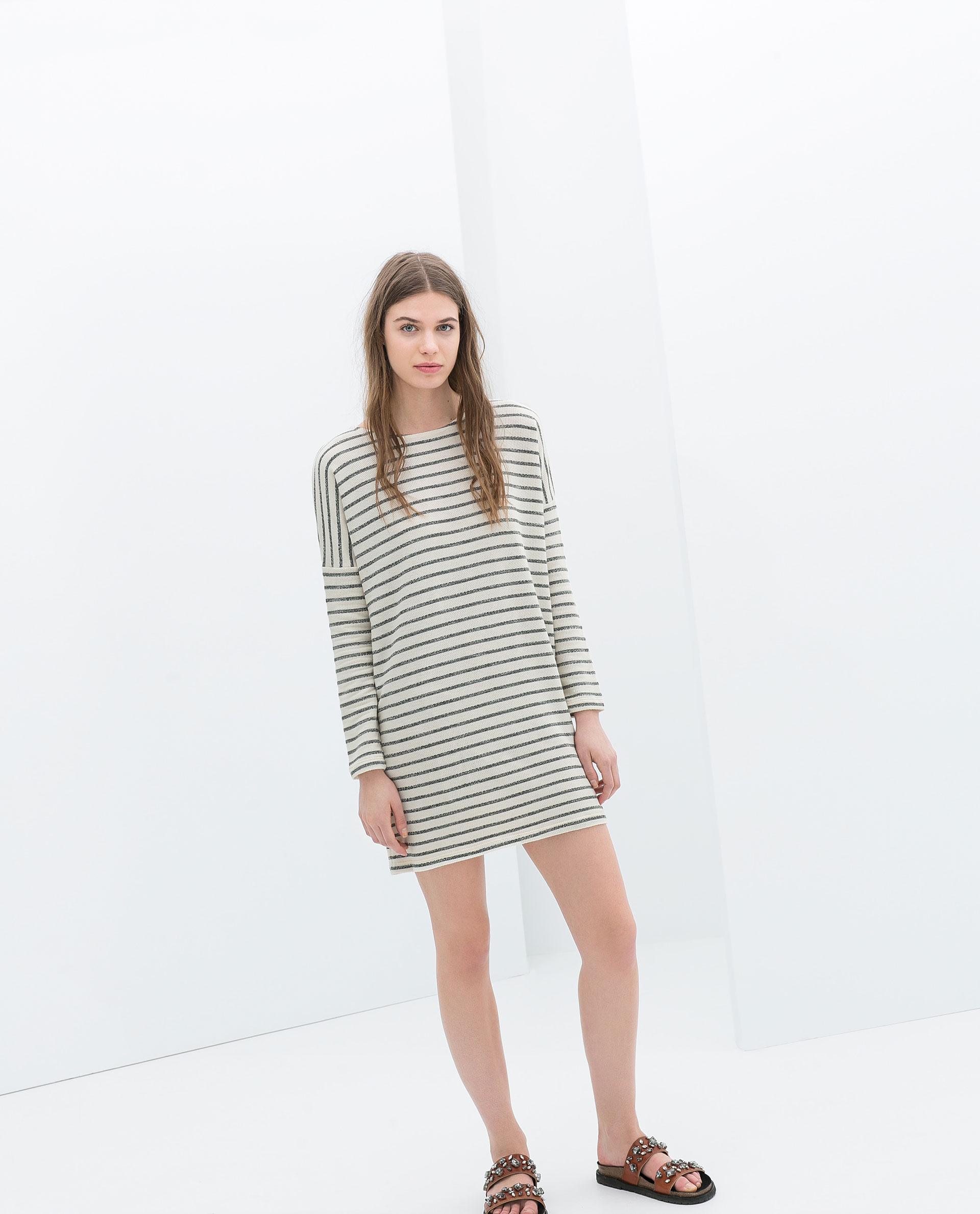 Zara Striped Velour Dress In White Lyst