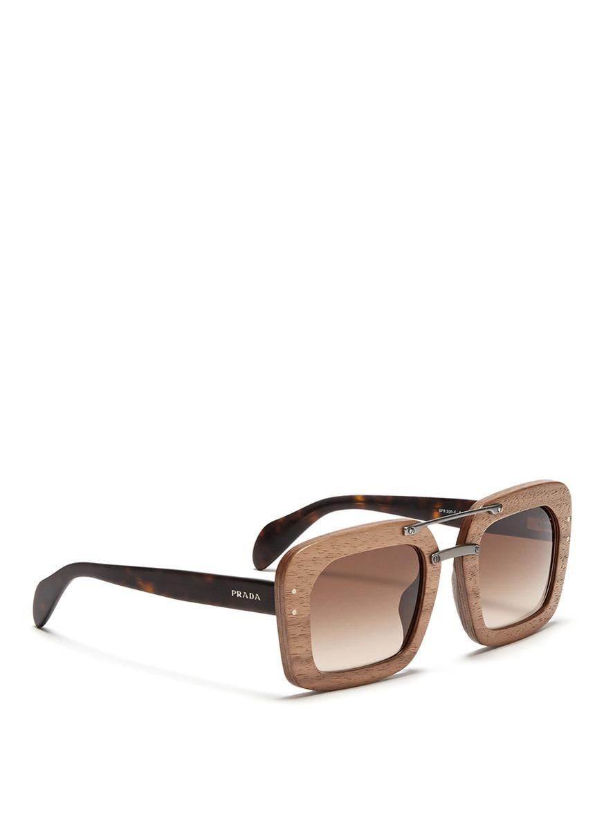 2e32fa780c65 ... aviator spr 28r grey sunglasses fa87a e2186; new zealand lyst prada raw  matte tortoiseshell temple wood sunglasses in brown 54c44 8f025