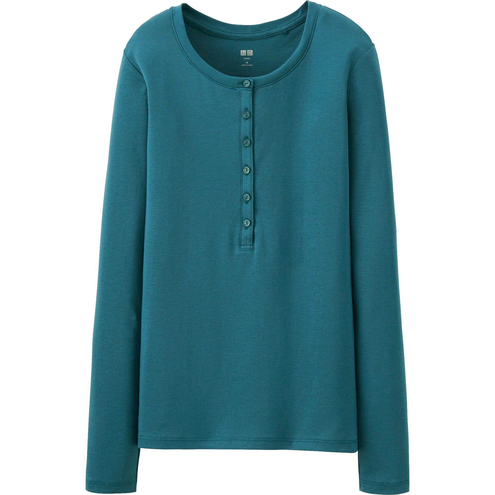 Uniqlo supima cotton henley neck long sleeve tshirt in for Supima cotton dress shirts