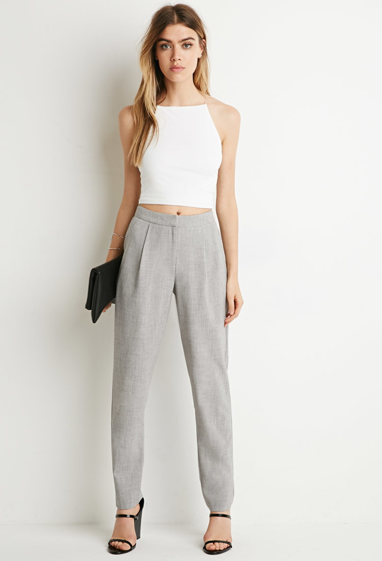 Forever 21 Tapered Pleat Trousers in Gray | Lyst