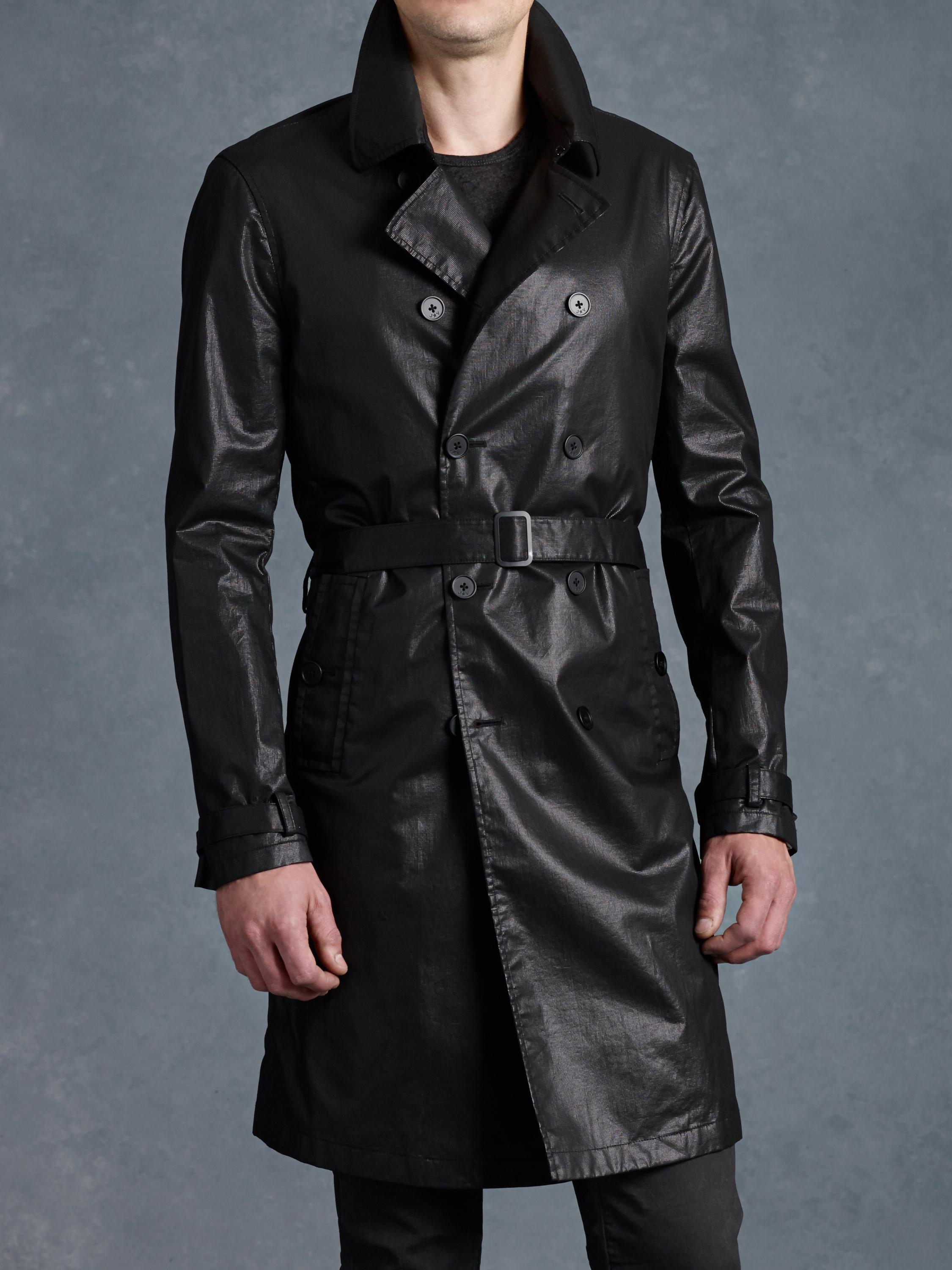 John varvatos Double Breasted Trench Coat in Black for Men | Lyst