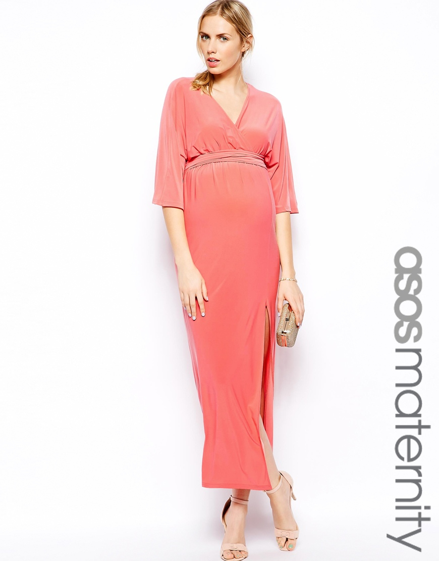 Lyst asos kimono wrap maxi dress in pink gallery ombrellifo Images
