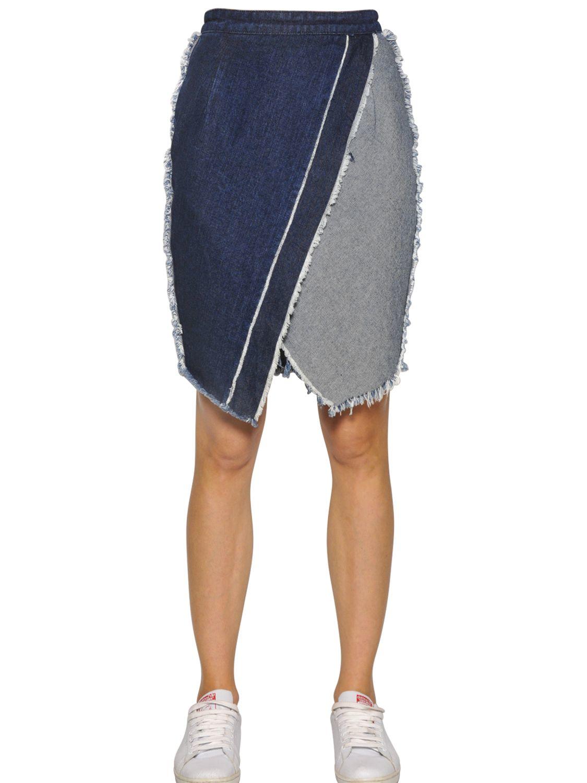 tpn frayed envelope cotton denim skirt in blue lyst