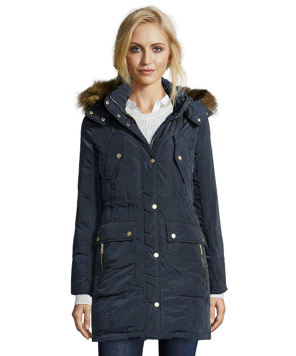 Cole haan Navy Quilted Faux Fur Trimmed Hooded Down Jacket in Blue ...