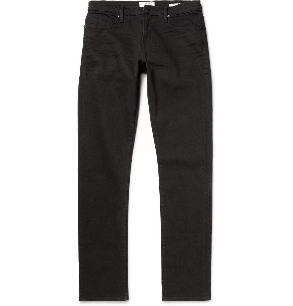 frame denim l 39 homme noir slim fit denim jeans in black for. Black Bedroom Furniture Sets. Home Design Ideas