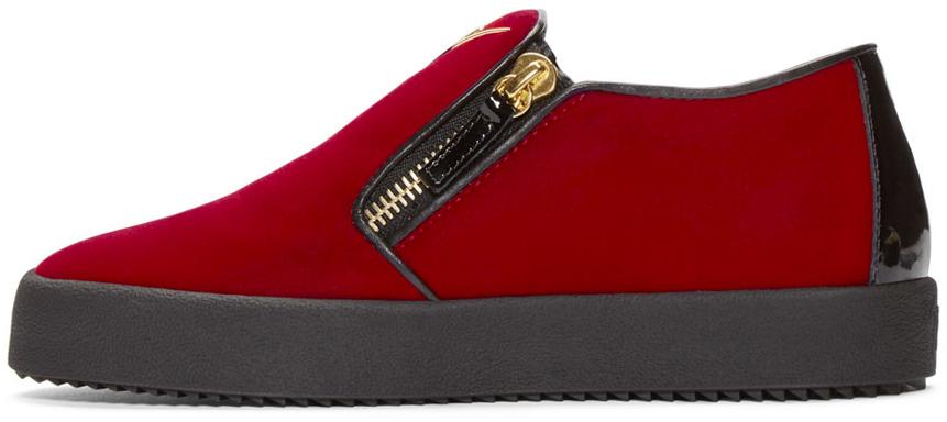 6d92f80556cf Giuseppe Zanotti Ssense Exclusive Red   Black Velour Slip-on London Sneakers  in Red - Lyst