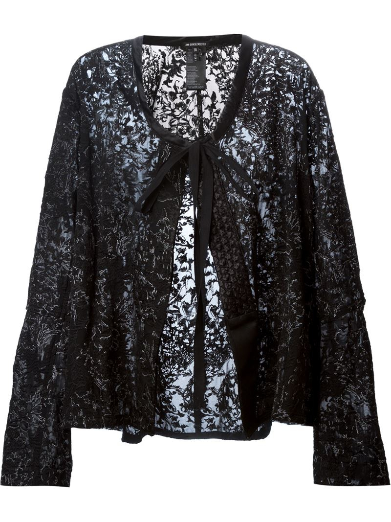 Ann demeulemeester embroidered jacket in black lyst
