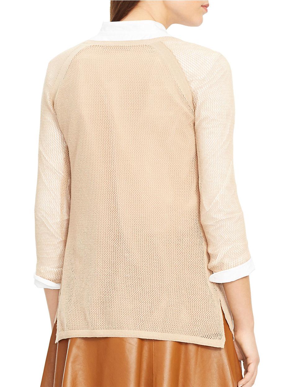 lauren by ralph lauren petite linen cotton mesh sweater in beige lyst. Black Bedroom Furniture Sets. Home Design Ideas