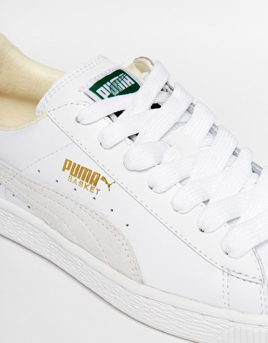 Lyst - PUMA Basket Classic White Sneakers in White 81d992d74