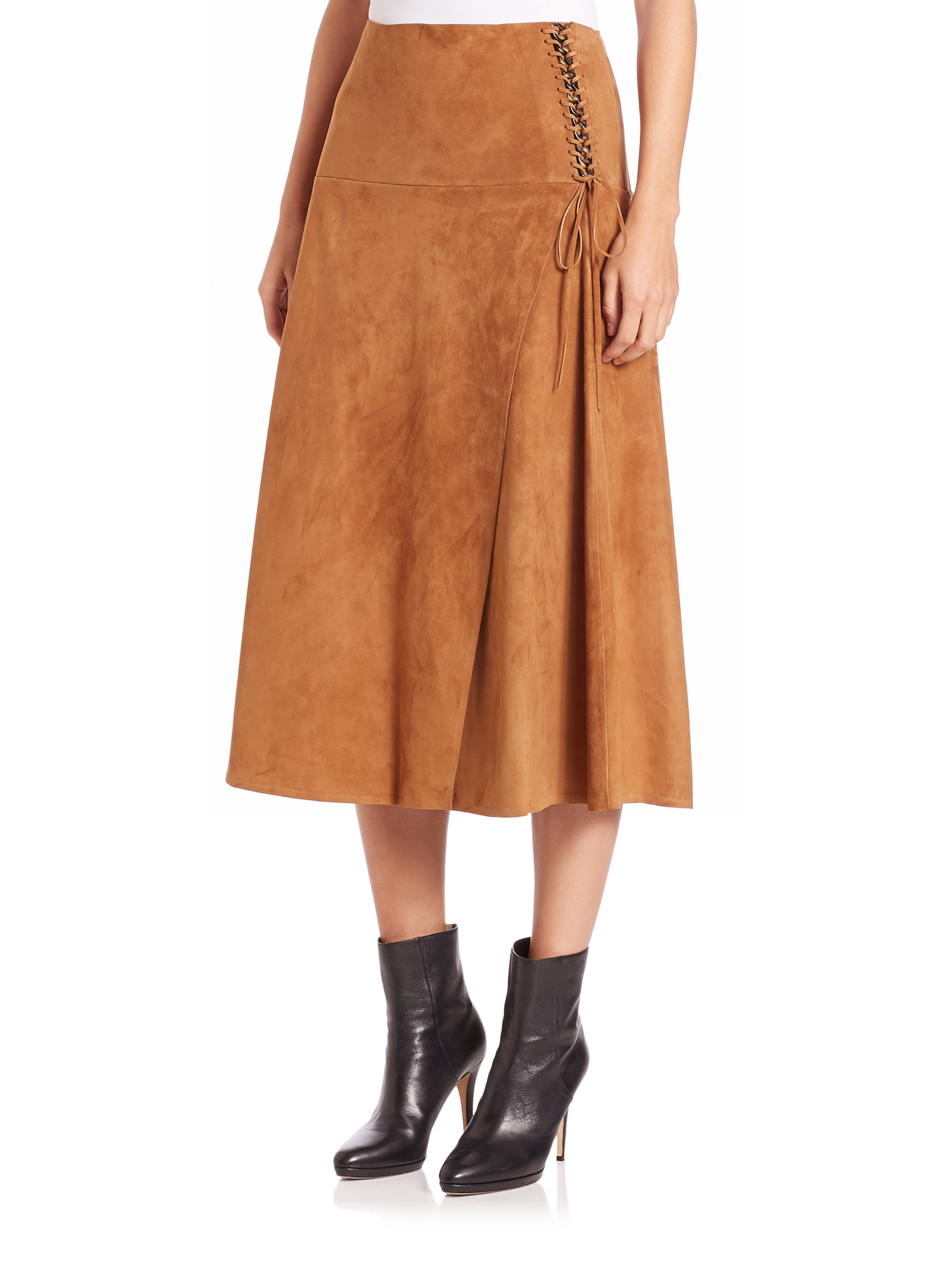 29681b7c26 Ralph Lauren Collection Aiden Suede Lace-up Midi Skirt in Orange - Lyst
