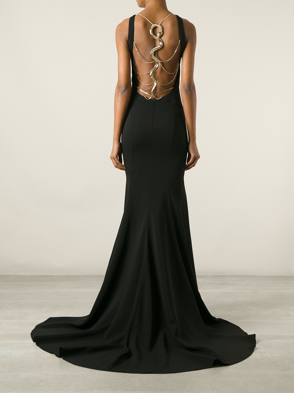 Lyst Roberto Cavalli Snake Silk Blend Gown In Black