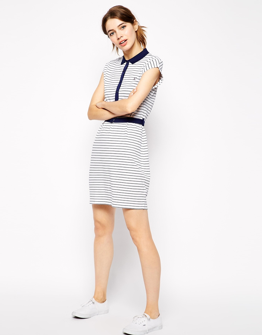 Lyst Fred Perry Striped Polo Shirt Dress In Blue