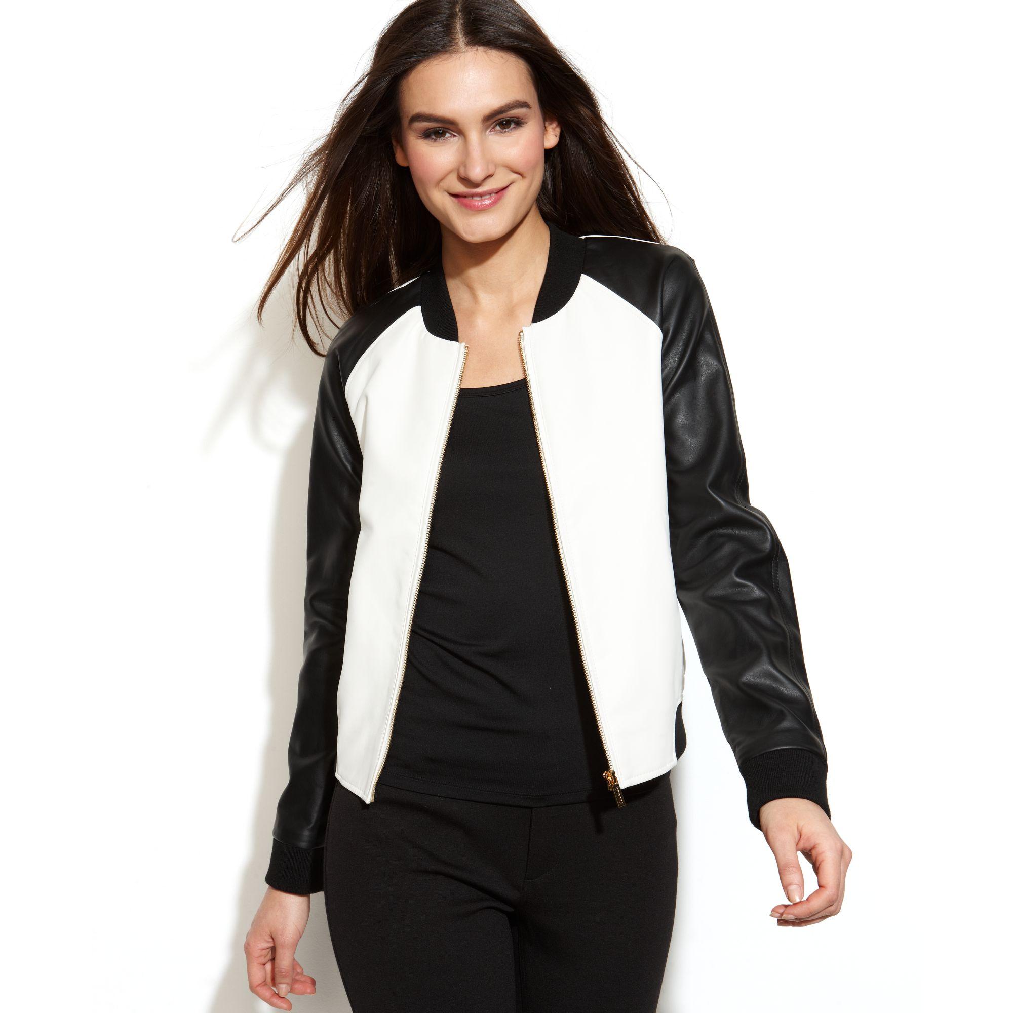 lyst calvin klein fauxleather colorblock bomber jacket