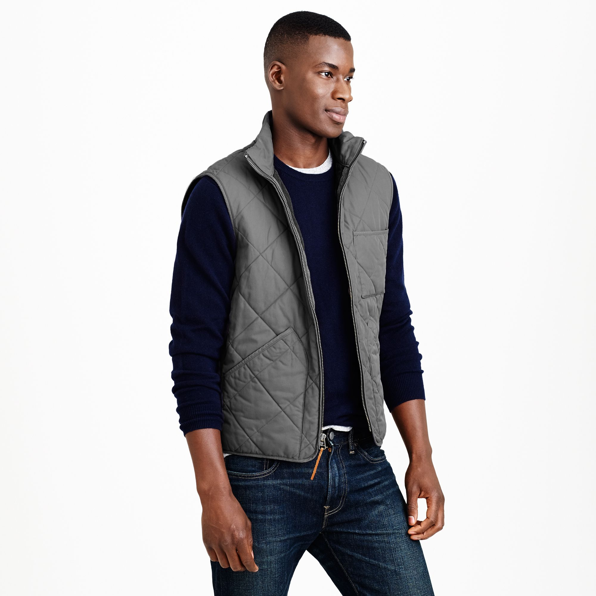 Broadmoor quilted vest in gray for men lyst for J crew mens outfits