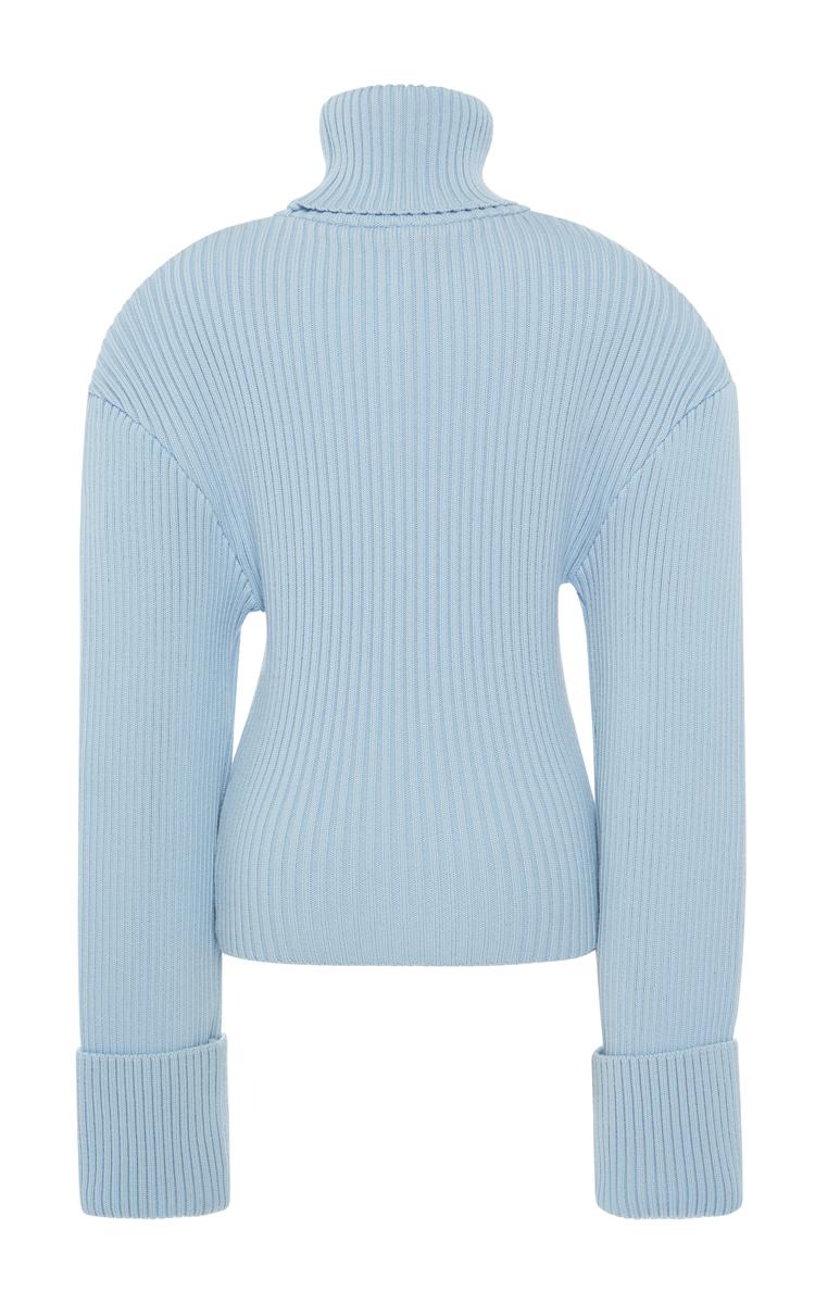 Jacquemus Giant Shoulder Turtleneck Sweater in Blue | Lyst