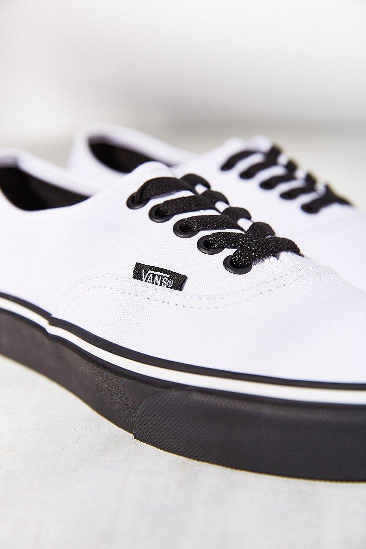 vans authentic white black sole